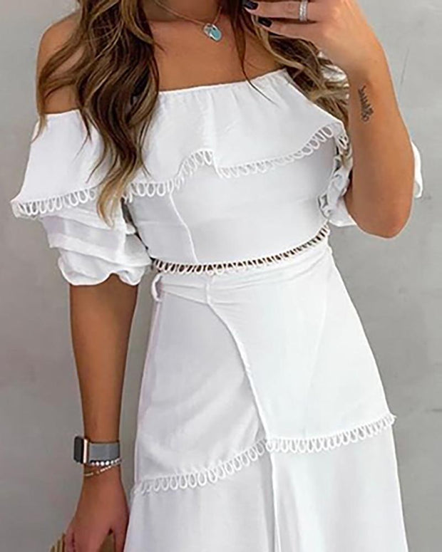 Off Shoulder Scallop Trim Top & Slit Skirt Set