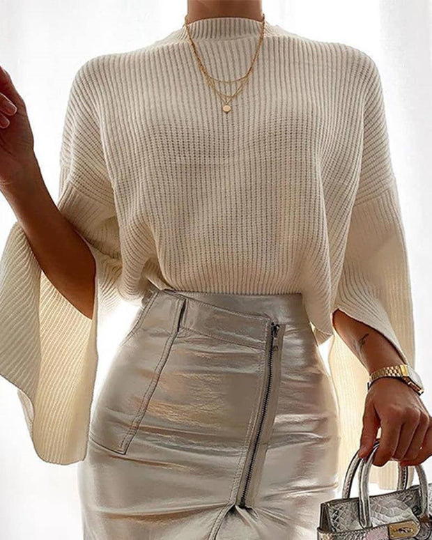 Solid Flare Sleeve Ribbed Top
