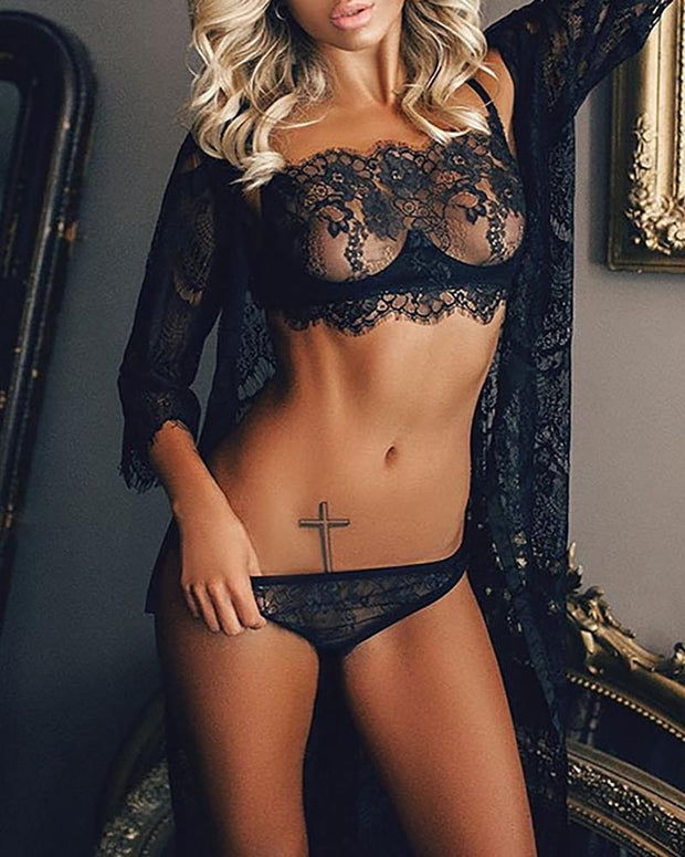 Eyelash Lace Sheer Mesh Lingerie Set