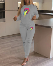 Mouth Pattern Ribbed Tracksuit