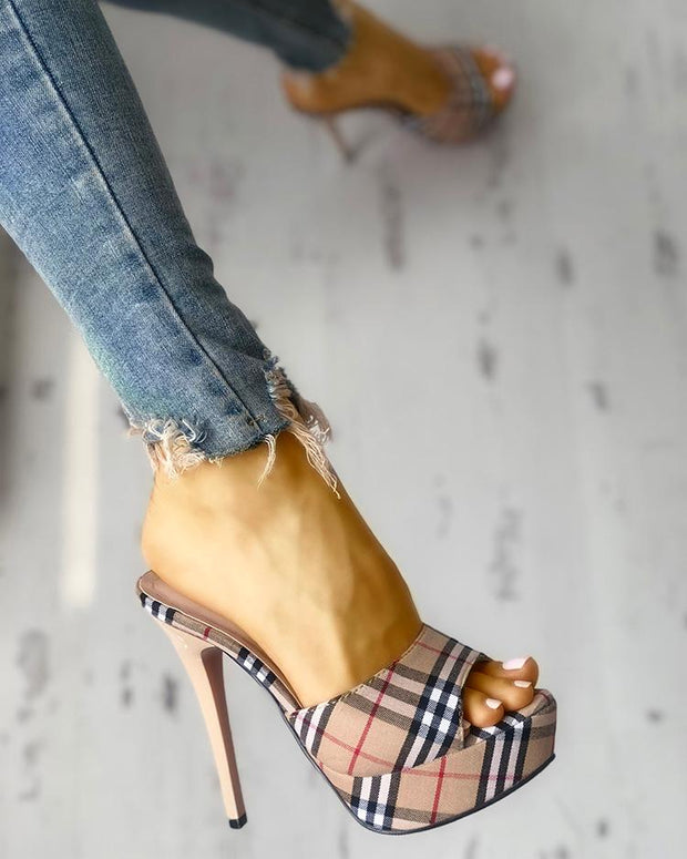 Plaid Print Single Strap Platform Thin Heeled Sandals