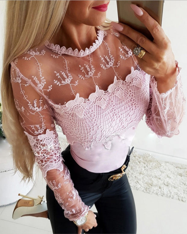 Sheer Mesh Lace Insert Casual Blouse