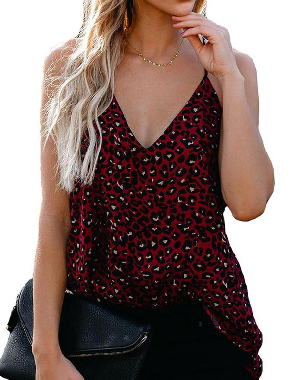 V Neck Leopard Tank Top
