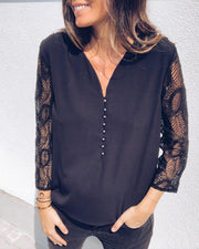 Lace Sleeve Buttoned Casual Blouse