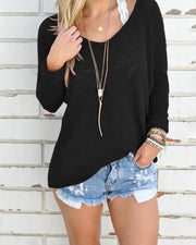 Trendy Solid Scoop Neck Knitted Casual Top