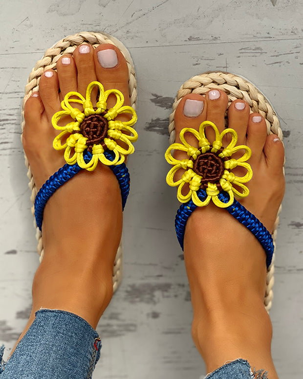 Sunflower Design Toe Post Flat Slipper
