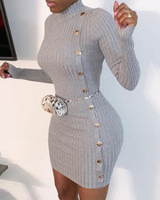 Solid Mock Neck Ribbed Buttoned Bodycon Dress
