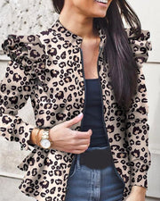 Ruffle Pritning Long Sleeve Suit Coat