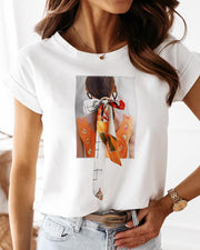 Figure Print Tied Detail Casual T-shirt