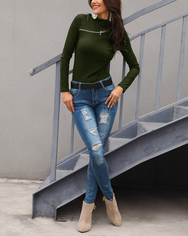 Zipper Design Cut Out Ribbed Sweater