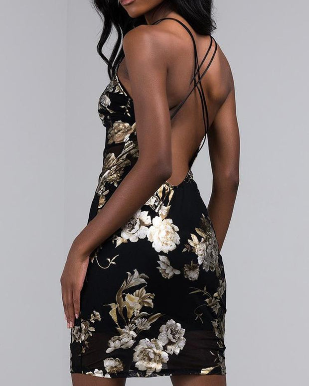 Halter Floral Print Crisscross Back Dress