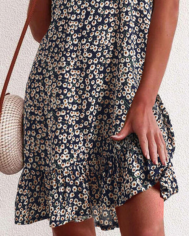 Spaghetti Strap Daisy Print Backless Ruffles Dress