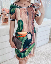 Birds Print Stripes Binding Casual Dress