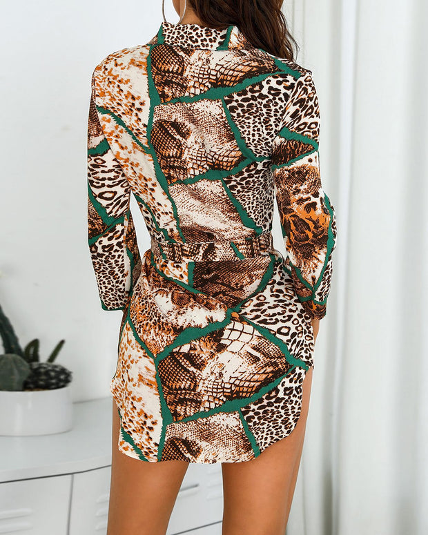 Leopard Print Contrast Insert Shirt Dress