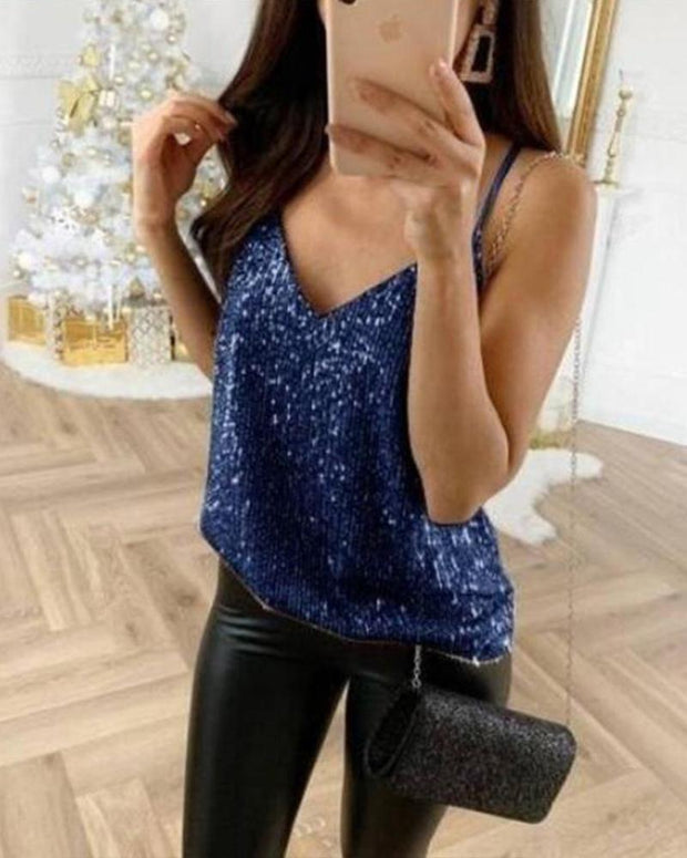Sexy V Neck Sequin Tank
