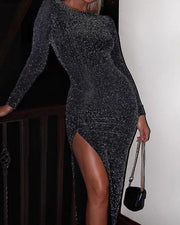 Glitter Long Sleeve Thigh Slit Party Dress