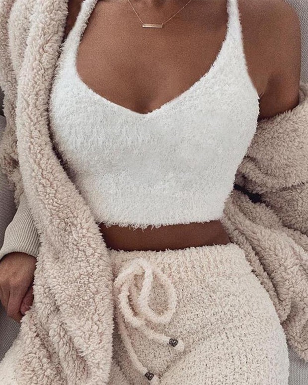 Solid Color Knitting Sweater Camisole