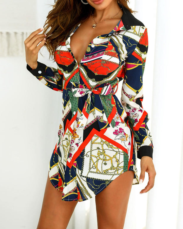 Scarf Print Curved Hem Buttoned Shirt Dress