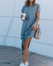 Round Neck Split Knotted Casual Dress