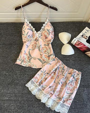 Floral Lace Trim Pajama Set