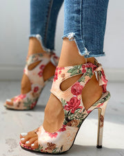 Floral Print Peep Toe Cut Out Thin Heeled Sandals