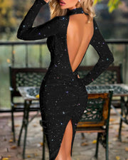 Glitter Mock Neck Backless Ruched Slit Bodycon Dress