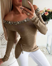 Off Shoulder Beaded & Zipper Design Top