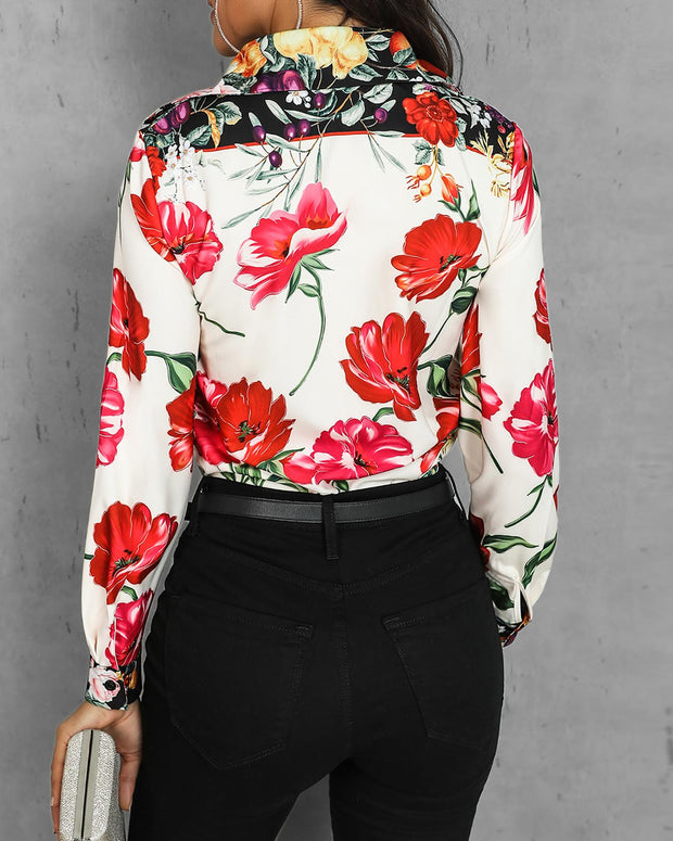 Mixed Floral Print Casual Blouse
