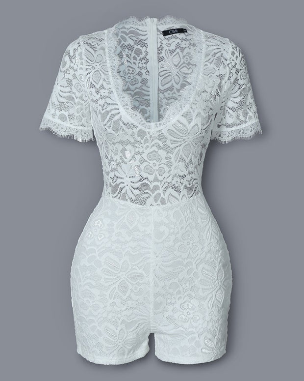 Eyelash Lace Short Sleeve Rompers