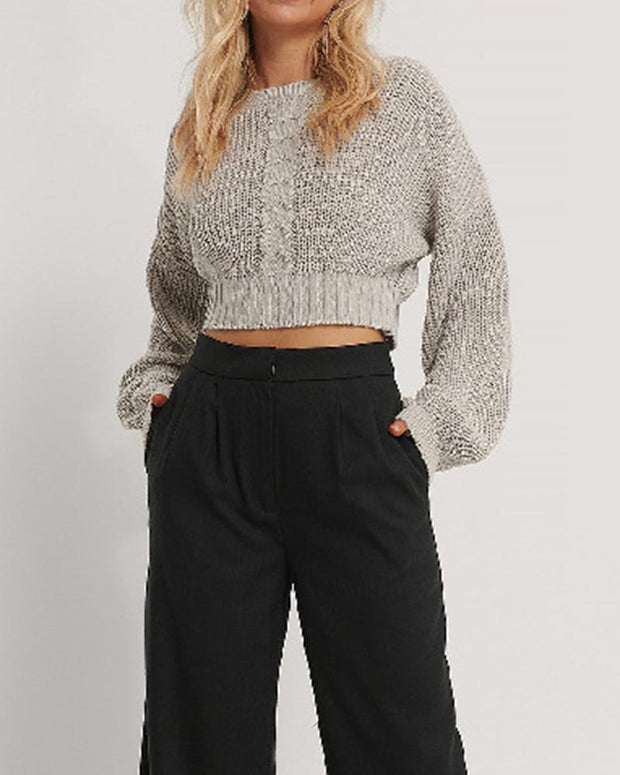 Solid Long Bloomer Sleeve Loose Sweater