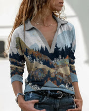 Scenery Print Long Sleeve Loose POLO Blouse