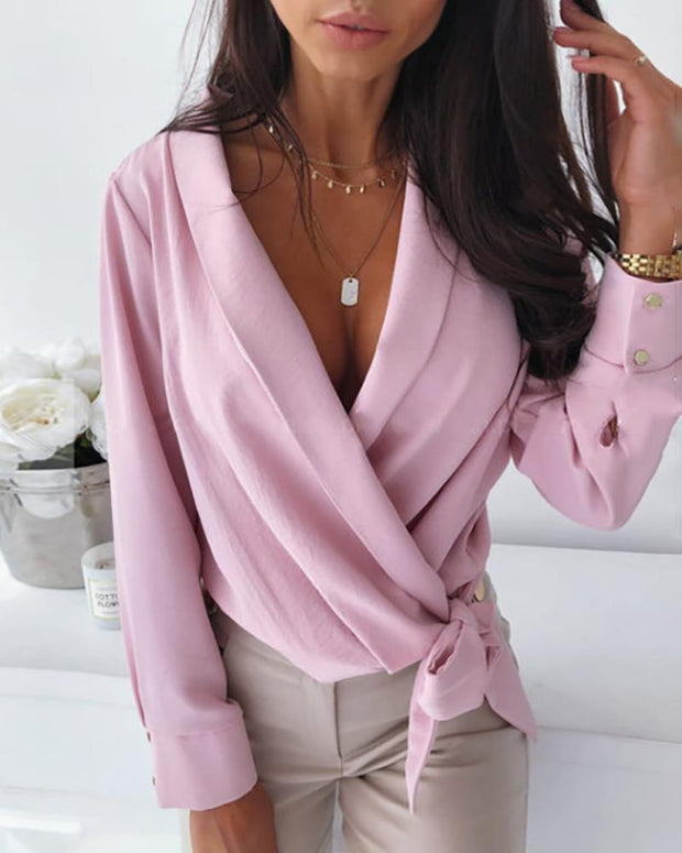 Solid Popper Sleeve Tied Blouse