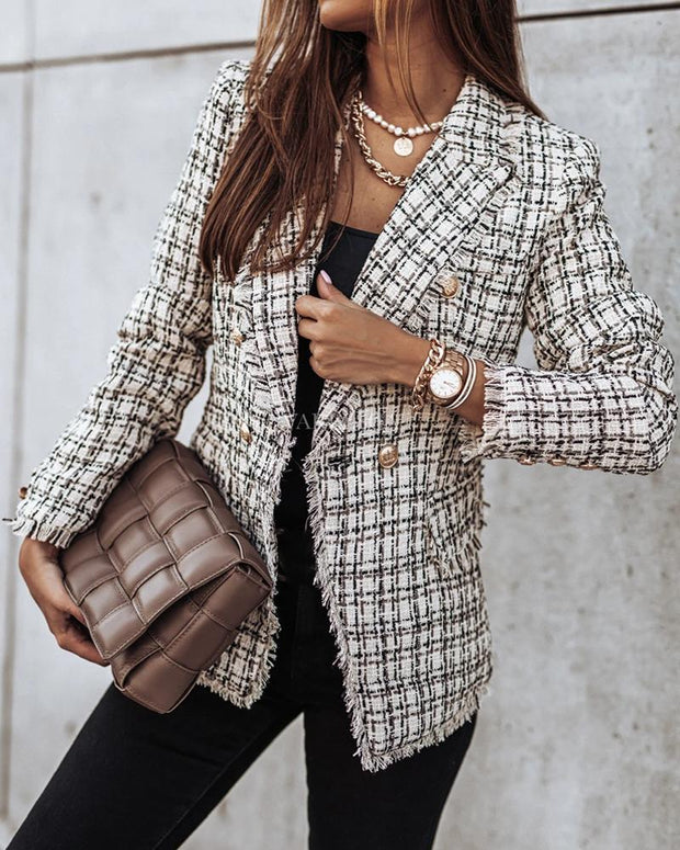 Chic Plaid Printing Long Sleeve Coat