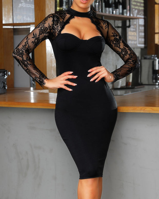 Lace Yoke Cut Out Bodycon Dress