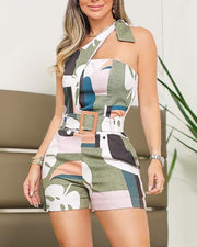 One Shoulder Knotted Detail Abstract Print Romper