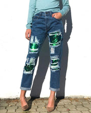 Sequin Solid Color Straight Ripped Jean Pants