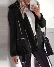 Solid Long Sleeve Biker Coats