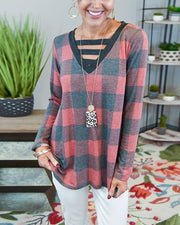 Big Checked Long Sleeve cUT-out Loose T-shirts