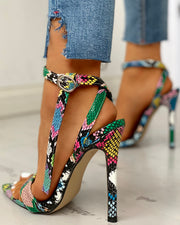 Snakeskin Ankle Strap Thin Heeled Sandals
