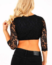 Solid Long Sleeve Lace Splicing Skinny Cut-out Sweaters