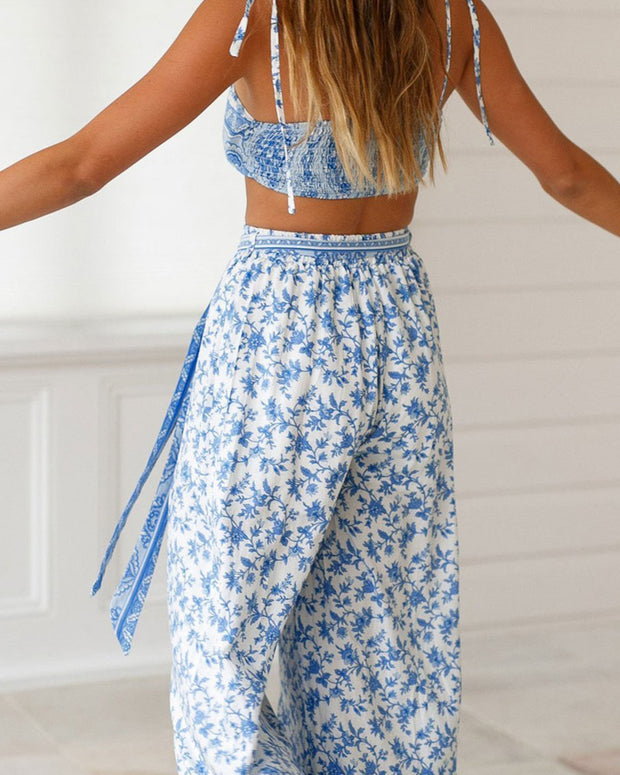 Sexy Off Shoulder Floral Printed Two Piece Suit Jumpsuit