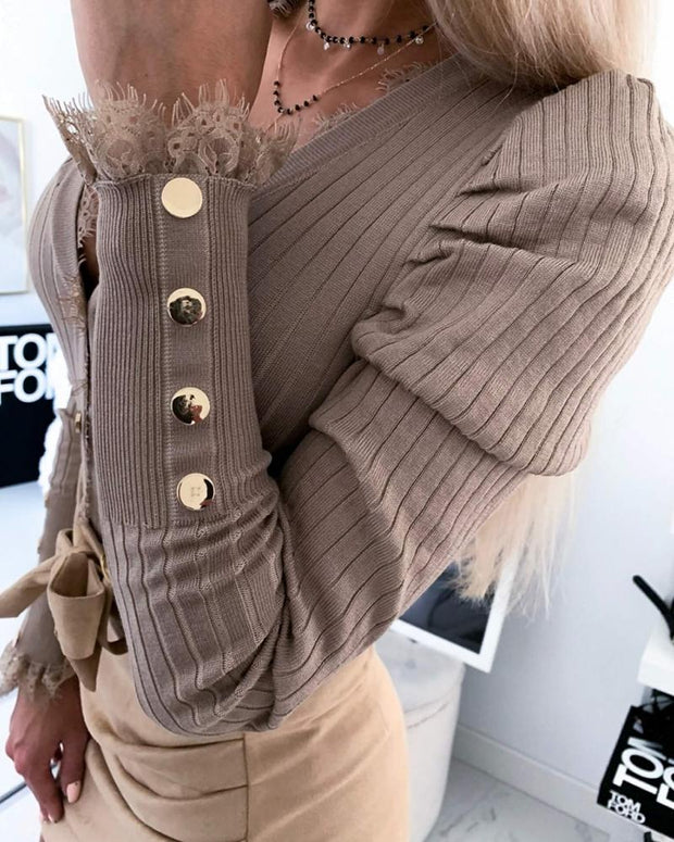 Solid Robbed Button-Up Top