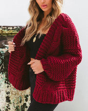 Fashionable Solid Long Sleeve Cardigan