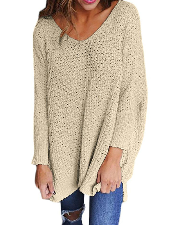 Solid V Neck Loose Sweater
