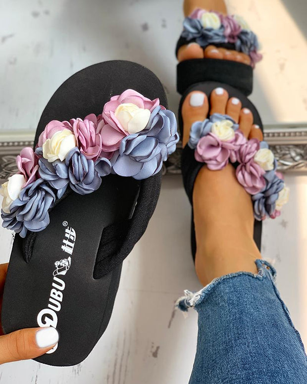 Ruched Flower Embellished Platform Sandals