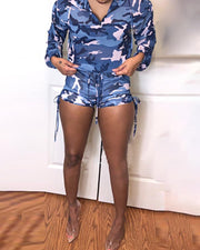Camouflage Drawstring Design Hoodie & Short Sets