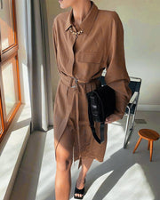 Solid Long Sleeve Loose Shirt Dress