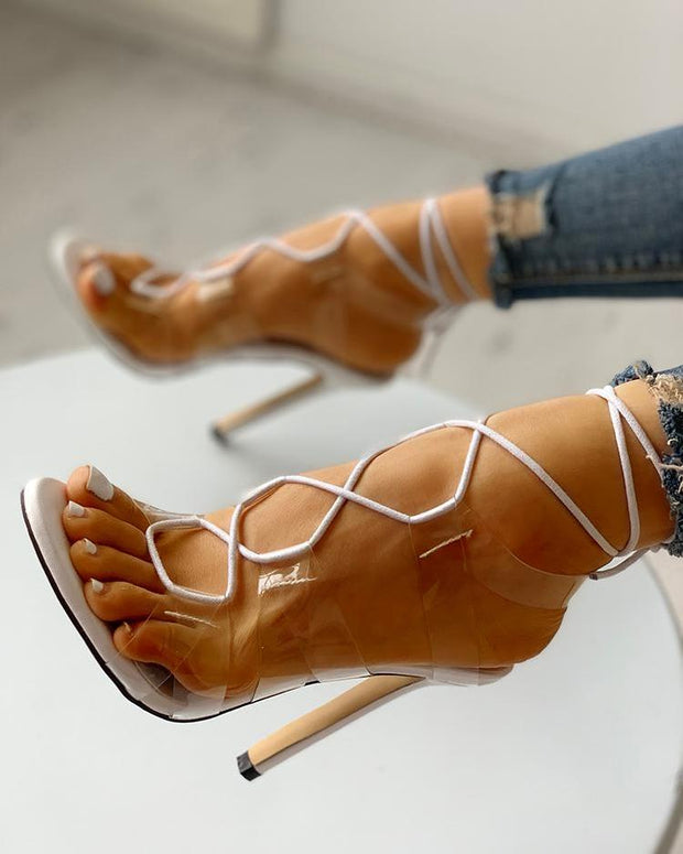 Transparent Strap Lace-Up Thin Heeled Sandals
