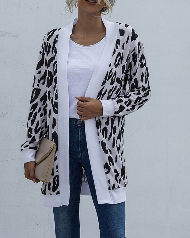 Leopard Printing Long Sleeve Cardigan