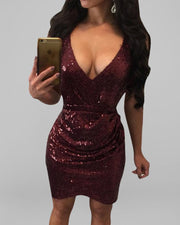 Overlap Ladder Cut Out Sequin Party Dress
